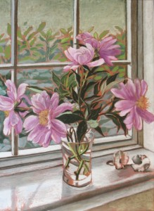 Peonies in the Window, Leslie Miles
