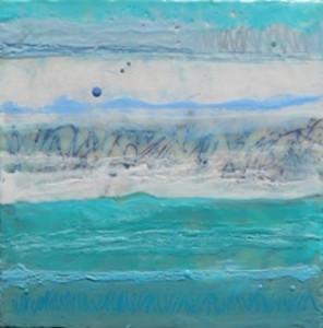 Deb Dryden, Aqua II, encaustic
